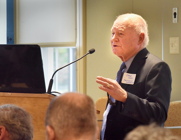BRYAN EATON/Staff Photo. Stephen Karp presented plans for his New England Development's Waterfront West project at an installment of the Breakfast Speaker Series 2019 by the Greater Newburyport Chamber of Commerce and Industry.