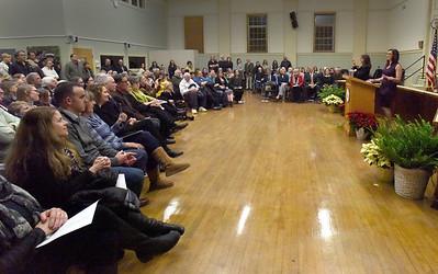 BRYAN EATON/Staff photo. Amesbury Mayor Kassandra Gove gives her inaugural address at Amesbury Town Hall.
