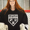BRYAN EATON/Staff Photo. Pentucket's Jenny Hubbard is the starting goalie for the Haverhill-Pentucket-North Andover girls hockey co-op and has led the team to an undefeated record through the first half of the season.