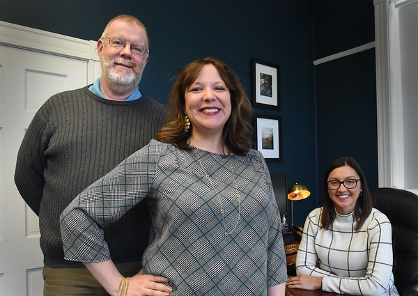 BRYAN EATON/Staff Photo. Paul Fahey is the new chief of staff for Amesbury Mayor Kassandra Gove, right, and Alyssa Premo has returned as executive assistant.
