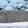 BRYAN EATON/Staff photo. One of several cross-country skiers hits the snow at Maudslay State Park in Newburyport on Sunday morning left from a fast-moving storm. Saturday could see more snow or a mix with rain.