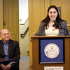 "BRYAN EATON/Staff Photo. Amesbury High School senior and event co-chair Beverly Browne introduces her grandfather Sammy G. Shina, Ph.D. who spoke on the ""History of the Jews of Baghdad on Thursday night. He was the guest speaker on the Greater Newburyport YWCA's Annual Martin Luther King Jr. Day event at Newburyport City Hall on Thursday night."