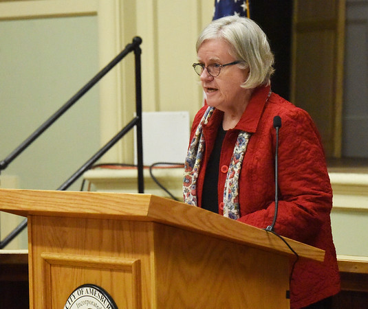 BRYAN EATON/Staff photo. Amesbury's poet Laureate Ellie O'Leary addresses those in attendance of the inauguration.