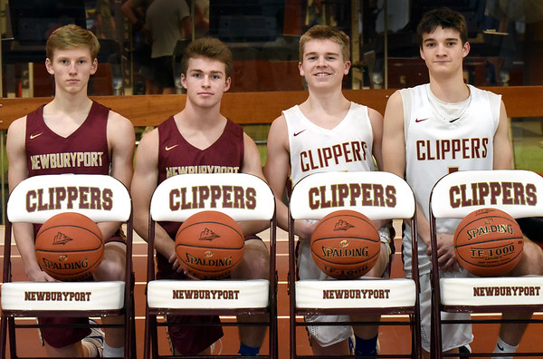 BRYAN EATON/Staff Photo. Newburyport basketball sophomores Jack Fehlner, Max Gagnon, Finn Sullivan, and Ronan Brown have emerged as key players on a Clipper team that is once again contending for a CAL title.