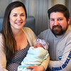 BRYAN EATON/Staff Photo. Samantha Pike and Matt Yarnall of Merrimac show off their baby, Murielle Yarnall who was the first infant born at the Anna Jaques Hospital in 2020. She was born at 4:38 a.m. on January 1st at 7 pounds and 4 ounces and 19-1/2 inches.
