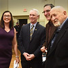 BRYAN EATON/Staff photo. New Amesbury Mayor Kassandra Gove posed for photos with Amesbury's first three mayors before her swearing in, from left, Gove; Thatcher Kezer, #3; David Hildt, #2 and Nicholas Costello, #1.
