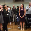BRYAN EATON/Staff photo. New Amesbury Mayor Kassandra Gove gets a round of applause after taking the oath of office on Thursday night.