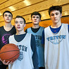 BRYAN EATON/Staff photo. Triton boys basketball players, from left, Michael Farago, TJ Overbaugh, Quintin McHale and Mason Ferrick.