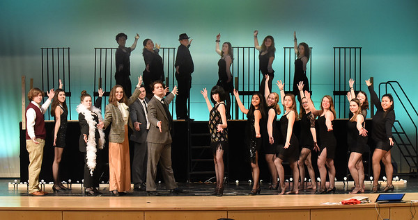 BRYAN EATON/Staff Photo. The cast of the musical Chicago in the final scene being performed at Amesbury High School.