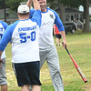 JIM VAIKNORAS/Staff photo Amesbury Police Officer Craig Lasage celebrates his home run against the Amesbury Fire Dept. Saturday at the Amesbury 250th Town Picnic at Amesbury Town Park.
