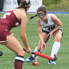JIM VAIKNORAS/Staff photo Pentucket's Meg Arnette makes a move on Newburyport's Meghan Winn during their game at Amesbury Sports park Wednesday.