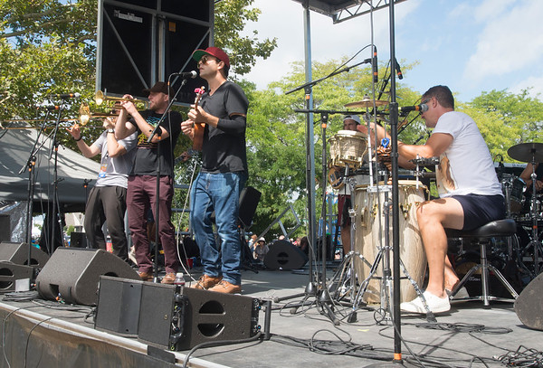 JIM VAIKNORAS/Staff photo <br /> The Aldous Collins Band performs at the 92.5 Riverfront Festival in Market Landing Park in Newburyport Saturday.