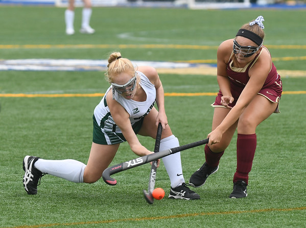 JIM VAIKNORAS/Staff photo Pentucket's Meghan Bean and  Newburyport's Shay Hawley fight for the ball during their game at Amesbury Sports park Wednesday.