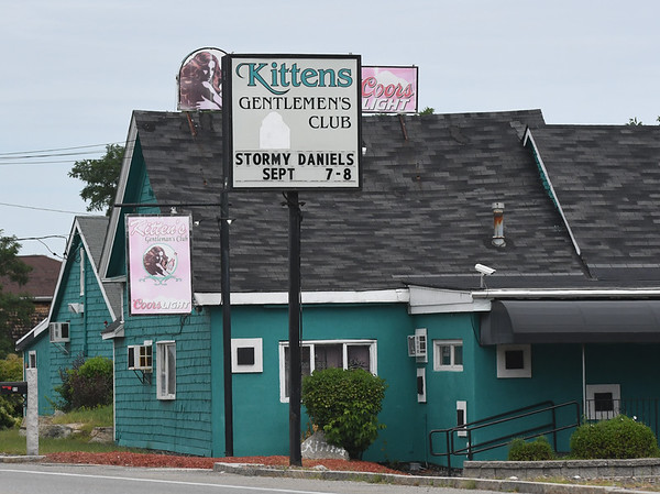 JIM VAIKNORAS/Staff photo The marquee at Kittens Gentlemen's Club in Salisbury advertises porn star Stormy Daniel's performance there this weekend.