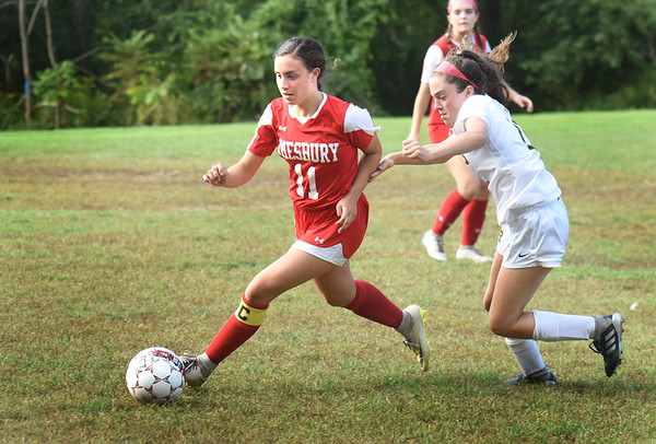 BRYAN EATON/Staff photo. Emma DiPietro moves past a North Reading player.