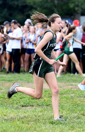 JIM VAIKNORAS/Staff photo Pentucket's Emily Kawiecki at the Clipper Relay at Maudslay State Park Saturday.