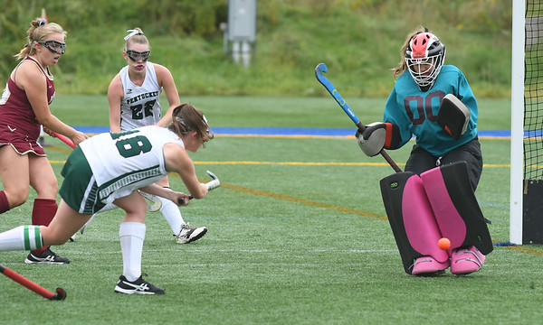 JIM VAIKNORAS/Staff photo Pentucket's Jacqui Cloutier shot is saved by Newburyport goalie Gabbie Taynor during their game at Amesbury Sports park Wednesday.