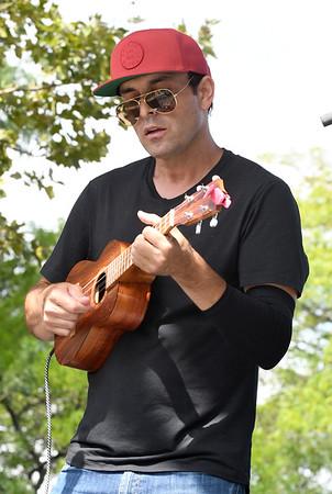 JIM VAIKNORAS/Staff photo <br /> Aldous Collins of the Aldous Collins Band performs at the 92.5 Riverfront Festival in Market Landing Park in Newburyport Saturday.