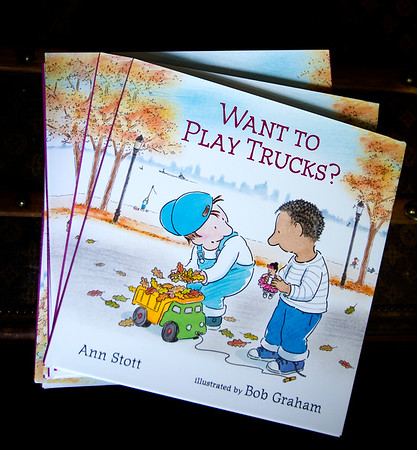 """JIM VAIKNORAS/Staff photo Newburyport resident Ann Stott at her home. She has written a children's book called """"Want to Play Trucks"""" based on a friendship her son struck up with another young boy in a local park some 14 years ago."""