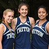 BRYAN EATON/Staff photo. Helping to lead the Triton High School girls cross-country team to a good start this season, from left, Sarah Harrington, Ellie Gay-Killeen and Kylie Lorenzo.