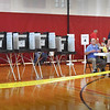 BRYAN EATON/Staff photo. Voters were going in and out of the Amesbury High School gymnasium, but numbers were definitely down from other elections.
