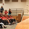 BRYAN EATON/Staff photo. Mike Smith gets some laughs from students at an all school assembly at Amesbury High School about his less then stellar tenure as a lifeguard as a teenager in Nebraska. The motivational  speaker spoke to the students about leadership, changing culture and climate and pursuing passions with some serious and humerous illustrations.