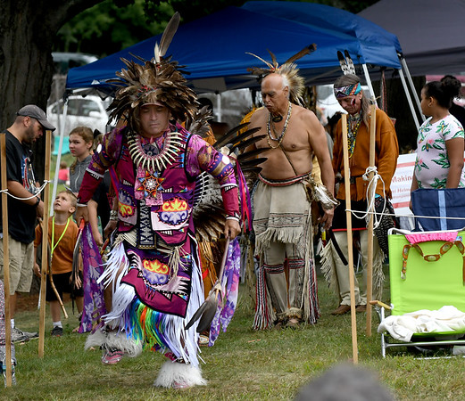 JIM VAIKNORAS/Staff photo Don Barnaby leads an inter-tribal dance at the annual Inter-Tribal Pow Wow at Plug Pond in Haverhill Saturday.