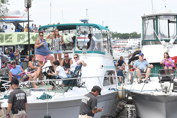 JIM VAIKNORAS/Staff photo Boats in the embayment were covered with music fans at the 92.5 Riverfront Festival in Newburyport Saturday.