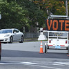 "BRYAN EATON/Staff photo. A traffic sign at ""three roads"" in Newburyport reminded people to vote. Turnout was expected to be extremely light."
