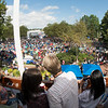 JIM VAIKNORAS/Staff photo The view from the balcony at the Firehouse shows large crowd gathers for the 92.5 Riverfront Festival in Market Landing Park in Newburyport Saturday.