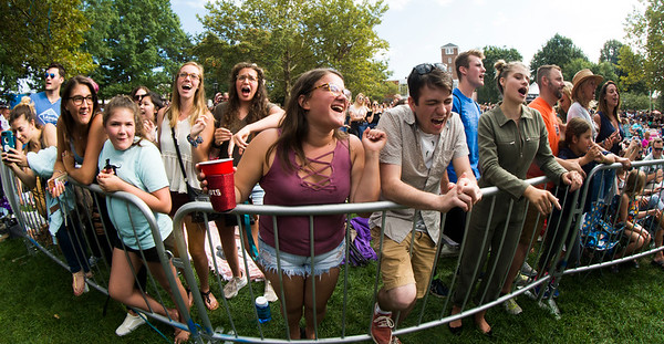 JIM VAIKNORAS/Staff photo Fans sing along with Phillip Phillips at the 92.5 Riverfront Festival in Market Landing Park in Newburyport Saturday.