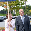 BRYAN EATON/Staff Photo. Amesbury Mayor Ken Gray with wife, Donna, greet people at the polls in his bid for re-election.