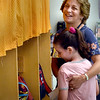 BRYAN EATON/Staff Photo. Salisbury Elementary School third grade teacher Deborah Dennehy welcomes Sofia Cabozzi, 8, to her classroom on Tuesday morning for the first day of school. Triton as well as Pentucket District schools opened with Newburyport opening on Thursday.