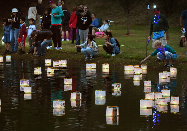 BRYAN EATON/Staff Photo. Attendees of the Ninth Annual Newburyport Lantern Festival put theirs into the Frog Pond at the Bartlet Mall on Sunday night. People who attend the event sponsored by Greater Newburyport Ovarian Cancer Awareness are encouraged to bring a picnic supper, blanket or chairs while they create their own lanterns.