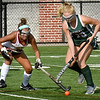 BRYAN EATON/Staff Photo. Ashley Ventura and Pentucket's Meghan Bean battle for the ball.