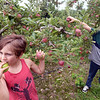 BRYAN EATON/Staff photo. Cider Hill Farm in Amesbury celebrated the unofficial start of fall on Labor Day with tractor rides, lawn games and, of course, apple picking. Haverhill brothers Sam Tariot, 6, sampling the product, left, and Pater 9, came to pick a few bags with their parents Zack and Nikkie.