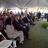 BRYAN EATON/Staff photo. Featured speaker Gov. Charlie Baker addresses the large crowd at the Maples Crossing sports complex on South Hunt Road in Amesbur before the ribbong cutting.