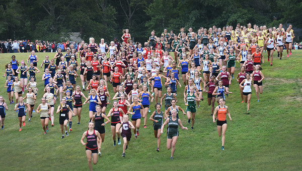 BRYAN EATON/Staff photo. The start of the girls heat of the Clipper Relay at Maudslay State Park.
