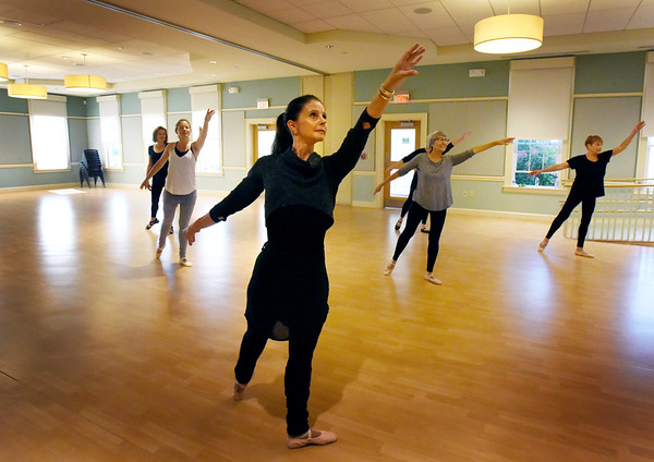 BRYAN EATON/Staff Photo. Nicole Marquis Chabot leads a class in ballet at the Newburyport Senior Center followed by tap lessons by Jenn Grinning. The classes meet on Tuesdays and Thursdays.