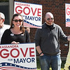 BRYAN EATON/Staff Photo. Candidate for mayor of Amesbury Kassandra Gove greets voters at Amesbury High School.