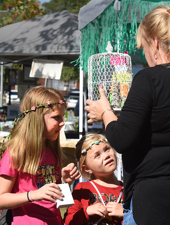 BRYAN EATON/Staff photo. Sisters Shelby Skane, 8, left, and Jordynn, 6, of Leicester check out a Christmas ornament their grandmother, Peg Pearse-Parrott of Salisbury shows them from White Butterfly Cottage at the Craft Fair at Salisbury Common.