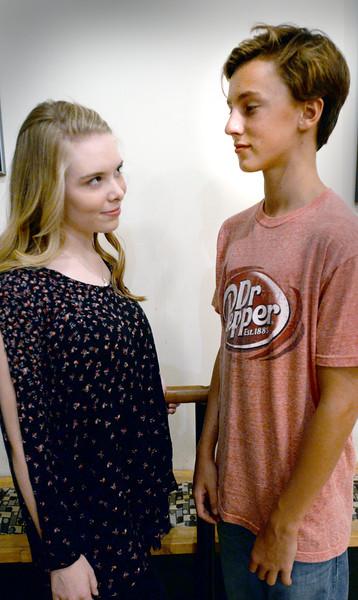 "BRYAN EATON/Staff photo. Maggie Budzyna as ""Ariel"" and Miles Tardy as ""Ren."""