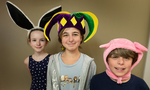 """BRYAN EATON/Staff photo. Tortoise and the Hare actors, from left, Paige Lichty as Harry Hare, Tiegan Trach as Chief of Staff and Jonas Trach as """"Cousin Frenchie."""""""
