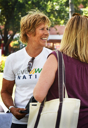 BRYAN EATON/Staff photo. Marathon swimmer Diana Nyad meets fans and fellow walkers on Newburyport's Waterfront Park.