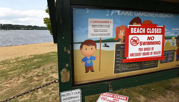 BRYAN EATON/Staff photo. Lake Gardner Beach in Amesbury remains closed due to high bacteria levels. The closure came at a convenient time as youngsters are back in school and the temperatures are more fall-like.