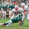 JIM VAIKNORAS/Staff photo Amesbury's Black Bennett tries to escape a sack at Pentucket high Saturday.