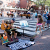 JIM VAIKNORAS/Staff photoArtist and song writer Dan Searl performs on a beautiful Labor Day weekend Saturday on Inn Street in Newburyport.