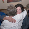 JIM VAIKNORAS/Staff photo Mayor Donna Holaday hugs supporter Deb Andrews at Loretta in Newburyport Tuesday night after getting the primary election results.