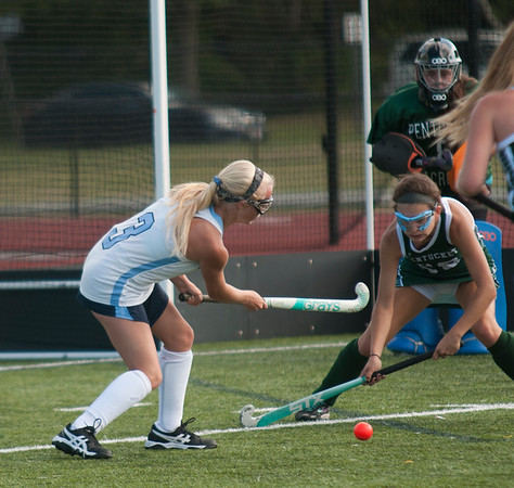 JIM VAIKNORAS/Staff photo Triton's Caitlin Roberge takes a shot on net against Pentucket during their game at Triton in Byfield Thursday.