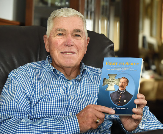 BRYAN EATON/Staff photo. Retired Mass State Police Col Ronald Guilmette, a Lawrence native, now of Salisbury, recently published a book about the history of the Massachusetts State Police.
